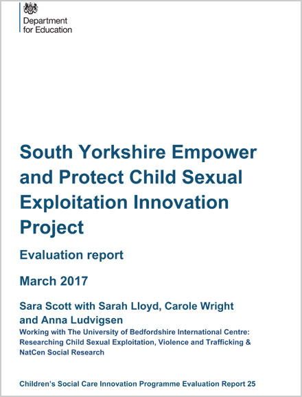 South Yorkshire Empower and Protect Child Sexual Exploitation Innovation Project Evaluation report