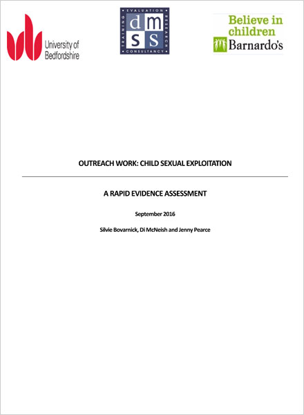 Outreach Work: Child Sexual Exploitation A Rapid Evidence Assessment