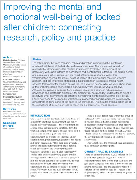 Reviewing the Research on the Mental Health of Looked After Children
