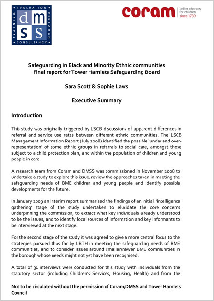 Safeguarding in Black and Minority Ethnic Communities