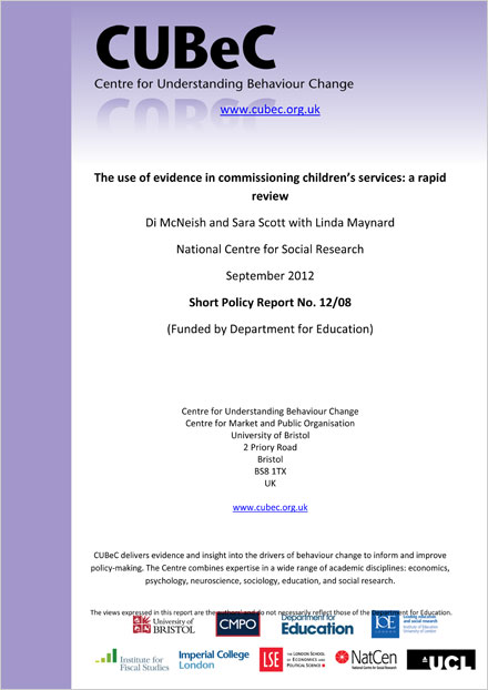 The use of evidence in commissioning children's services
